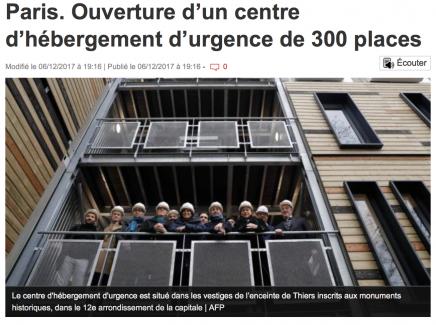 Paris. Ouverture d'un centre d'hébergement d'urgence de 300 places
